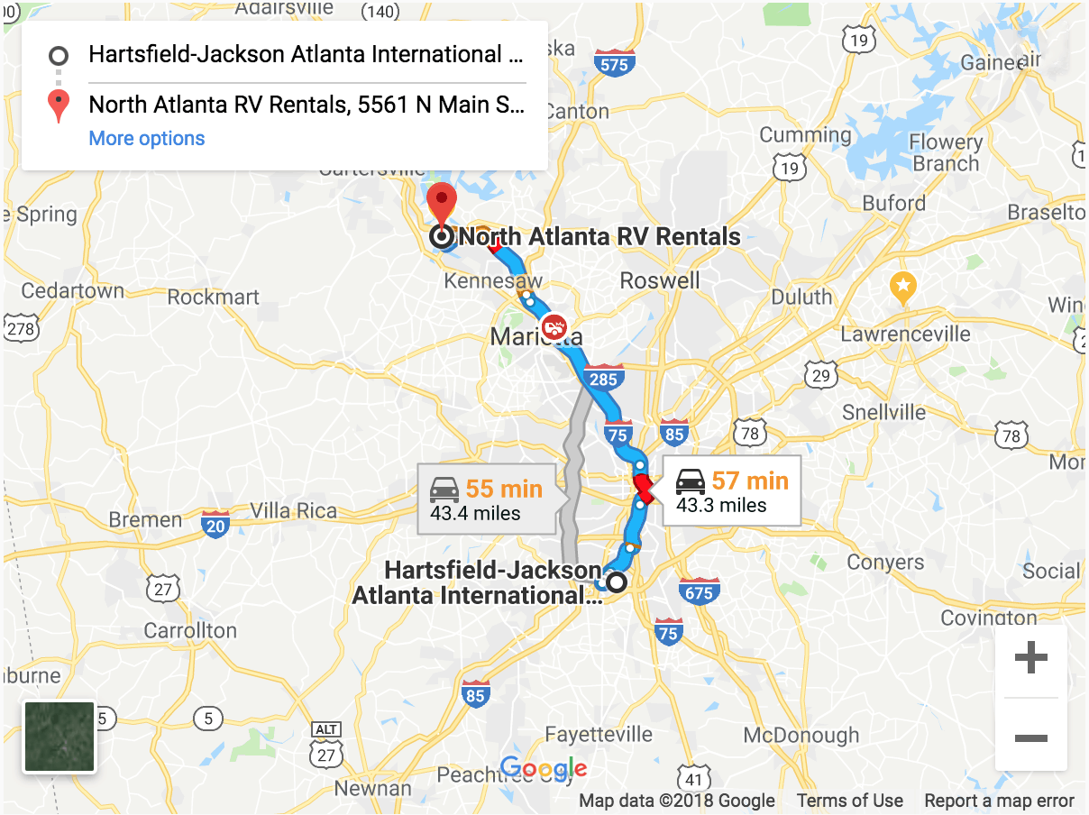 map from atlanta to north atlanta rv rentals